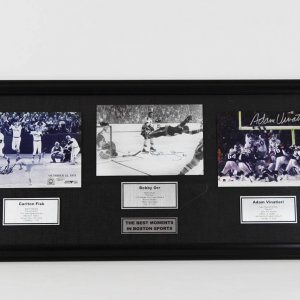 Heart Pounding Highlights in New England / Best Moments in Boston Sports 19x41 Display feat. Signed Photos Carlton Fisk