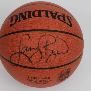 Special Hall of Fame Spaulding NBA Authentic Basketball Commemorating Larry Bird's HOF Induction LE 70/133 (Photo Of Bird Signing)