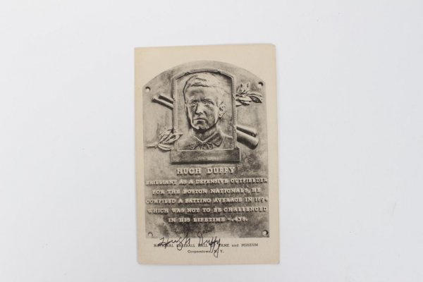 Ultra Rare Boston Nationals Beaneaters - Hugh Duffy Signed Autographed HOF Plaque Albertype Type I B&W Post Card (1944-52) (JSA Full LOA)