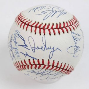 1989 Red Sox Team-Signed OAL (Brown) Baseball 29 Sigs. Incl. Wade Boggs