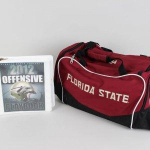 2013 BCS National Champions Florida State Seminoles - Jameis Winston Game-UsedTeam Travel Bag & 2012 Playbook (Incl. Provenance LOA)