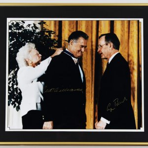 Boston Red Sox Ted Williams & George Bush Sr. Signed 20x24 Display