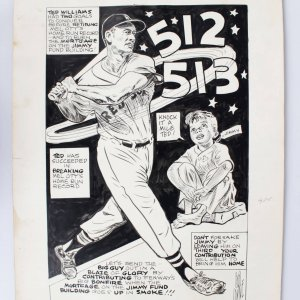 Boston Red Sox Ted Williams 16x23 Vintage Sign