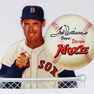 """Boston Red Sox Ted Williams """"Drink Moxie"""" Easel Back Sign"""