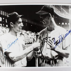 Boston Red Sox Ted Williams & New York Yankees Joe DiMaggio Signed 11x14 Photo