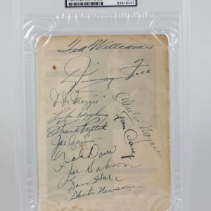 1941 Boston Red Sox Team-Signed Team Sheet 12 Sigs. Ted Williams