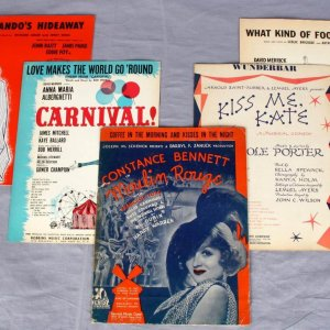 5 Cole Porter Constance Benett Vintage Musical Theater Song Sheets 1940's