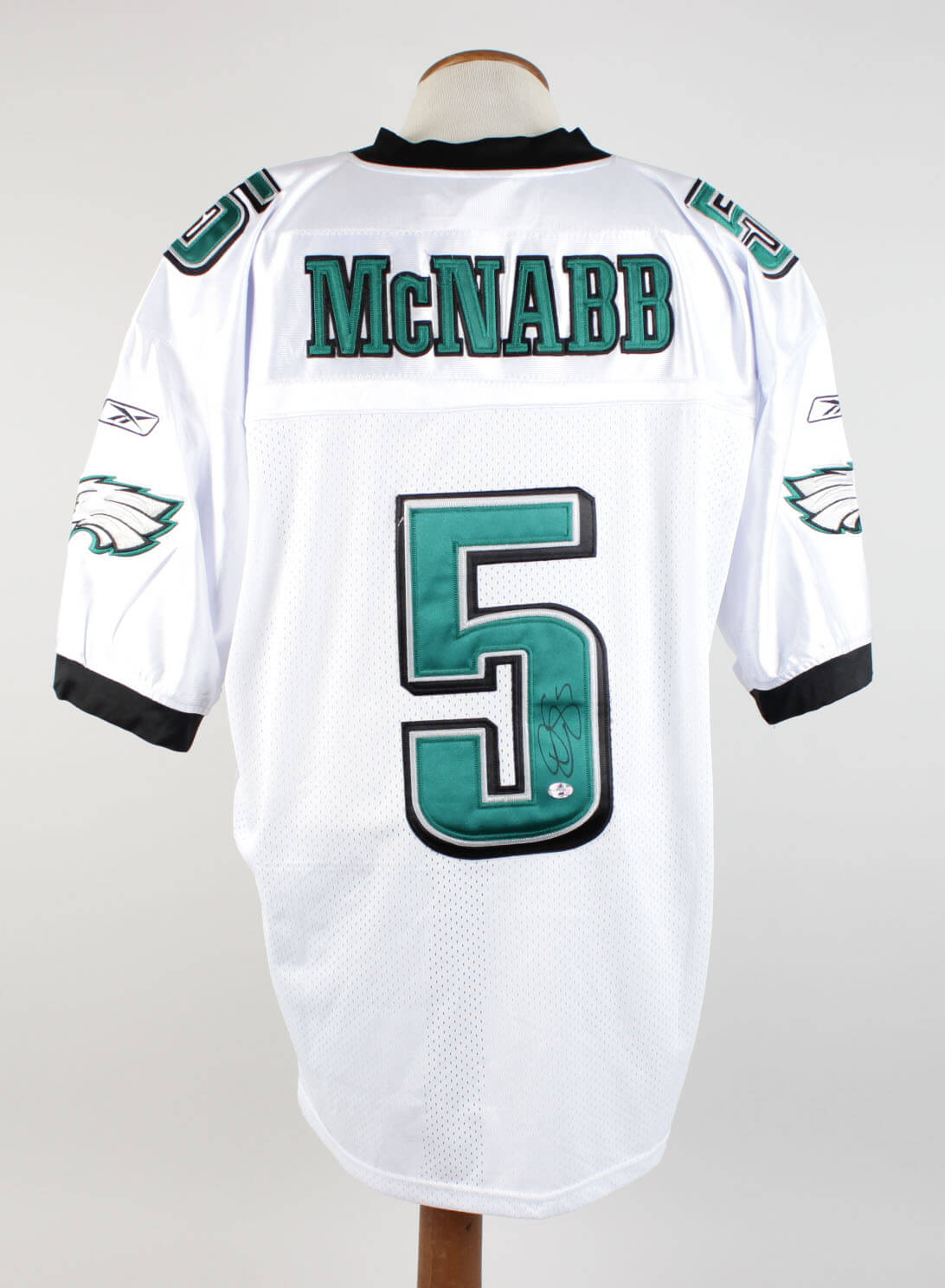 Donovan McNabb Signed & Inscribed (5) Philadelphia Eagles White Jersey Signature Grades 9-10