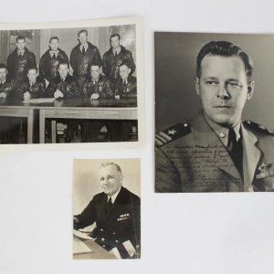 Commodore Oscar Smith Lot - Trio of Photos - Bob Jones Signed (Pers. to Smith), VJ-6 Group Shot and Portrait