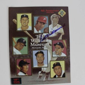 Boston Red Sox Ted Williams Signed 6th Anniversary 1994-1999 Ted Williams Museum Hitters Hall of Fame Souvenir Yearbook