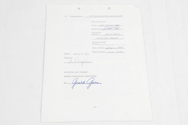 1972 Satchel Paige Signed Contract For Television Show