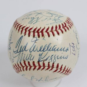1957 Boston Red Sox Team-Signed OAL (Harridge) Baseball 22 Autographs Incl. Club Ted Williams, & Pinky Higgins Jackie Jensen, Mickey Vernon, Pinky Higgins