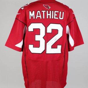Tyrann Mathieu (Honey Badger) Arizona Cardinals Signed & Inscribed (32 ) Red Jersey Signature Grades 9-10