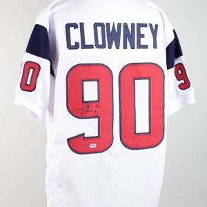Houston Texans - Jadeveon Clowney Signed & Inscribed (90) White Jersey (Signature 9-10)