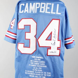 Houston Oilers Earl Campbell Signed Jersey (COA Player Letter)