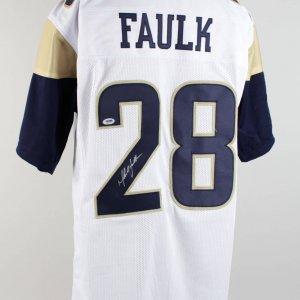 Marshall Faulk Signed Rams White Jersey (PSA)
