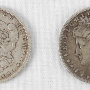 Pair of 1889 & 1892-O Morgan Liberty Silver Dollars Coins