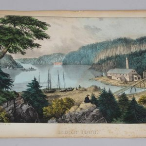 "Currier & Ives Lithograph - ""Indian Town - River St. John"""