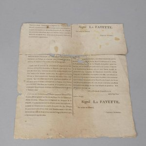 Revolutionary War General La Fayette Document Relating to United States & Canada