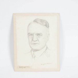 Original Pencil Drawing of Dwight W. Morrow Signed by Morrow and Artist (Morrow was Father-in-law of Charles A. Lindbergh