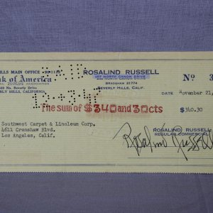 His Girl Friday Actress - Rosalind Russell Signed Check