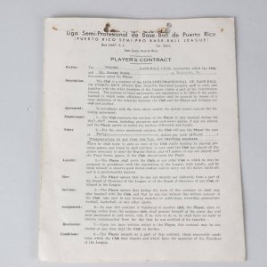 1941 Negro Leagues - Barney Brown Signed Puerto Rico Semi-Pro Baseball League Contract for Guayama - Also Signed by Quincy Trouppe
