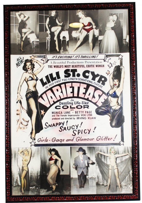 1954 Movie Poster for Irving Klaw's 1954 film 'VARIETEASE'' starring: Lili St. CyrA Beautiful Productions Presents Exotic Woman