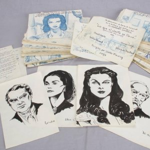 """1976 Orignal Art Book Manuscript of """"Gone With The Wind"""" 200+ Handrawn Illustrations - Vivien Leigh etc. (McCulty Collection)"""