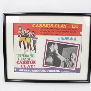 """1970 Boxing Legend - A.K.A. Cassius Clay Film Movie Spanish Lobby Card 16"""" x 11-1/2"""" Display"""