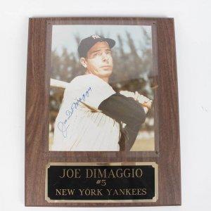 Yankees - Joe DiMaggio Autographed 8x10 Photo Display Plaque