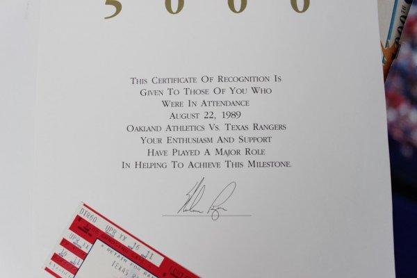 1989 - Texas Rangers Nolan Ryan 5000 Strikeouts Game Ticket