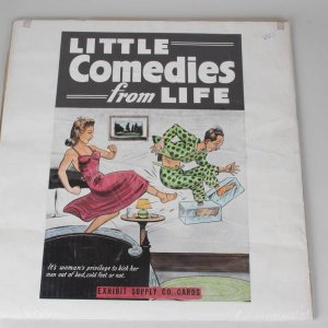 """1940s Exhibit Supply Company Advertising """"Little Comedies from LIFE"""" Poster - (Man with Cold Feet Getting Kicked Out of Bed)"""