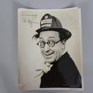"""Rare 1933 Vintage """"THE PERFECT FOOL"""" Ed Wynn Signed & Inscribed """"Sincerely"""" Texaco Fire Chief 8x10 Sepia-Toned Publicity Photo"""