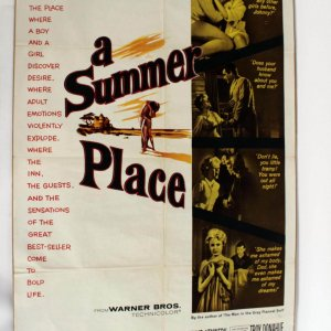 """Vintage 1950s Movie Poster """"A Summer Place"""" Romantic Film 27x42"""