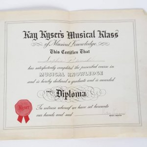 """1940s Kay Kyser's """"Signed"""" Musical Knowledge Diploma"""