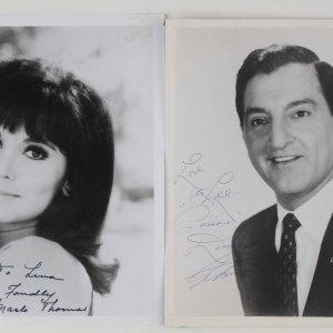 Actors - Danny Thomas & Marlo Thomas Signed & Inscribed B&W 8x10 Photos