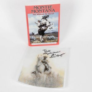 Western Stars - The Lone Ranger Clayton Moore Signed & Inscribed 8x10 Photo & Montie Montana Signed Autobiography Of West's Living Legend Book