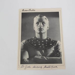 Buster  Crabbe Flash Gordon Signed  & Inscribed Photo