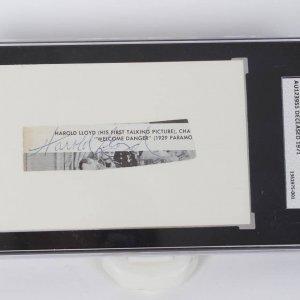 Actor - Comedian Harold Lloyd Signed Index Card (SGC A Slab )