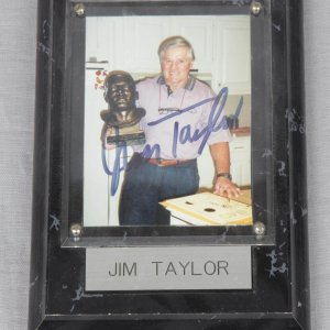 Green Bay Packers - Jim Taylor Signed Personal Snapshot Photo with Plaque Display