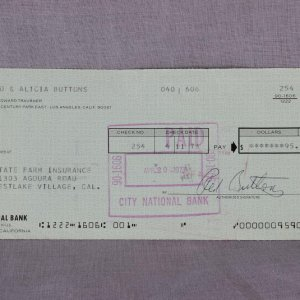 Comedian Red Buttons Signed Check