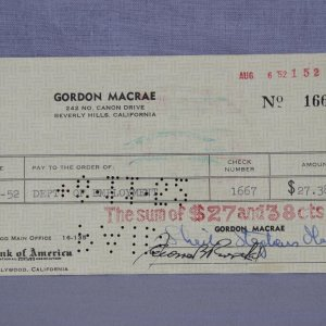 1952 Actor - Singer Gordon Macrae Signed Personal Check