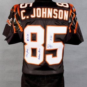 """2003 Bengals Chad Johnson (Chad Ocho Cinco)  Black Game-Worn Jersey  Inscribed """"Game Jersey Baltimore Ravens 10/19/03"""" w/Player Letter"""