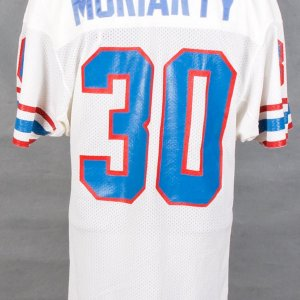 1985 Oilers Larry Moriarty Game-Worn White Jersey w/ Batty letter