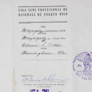 Rare 1941 Negro League - Bill S. Perkins Signed Contract for Mayaguez Indians Liga Semi Professional De Baseball De Puerto Rico