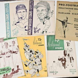 5 Baseball Hollywood Stars 40's 50's & 1  Football Hollywood Bears 1940 Gilmore Field Danny Goodman Collection