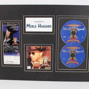 """Merle Haggard Signed CD Cover """"43d Legendary Hits"""" Matted"""
