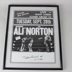 Rare Original Closed Circuit TV Fight Poster Display Feat. Muhammad Ali vs. Ken Norton - Vintage Ai Signature Signed