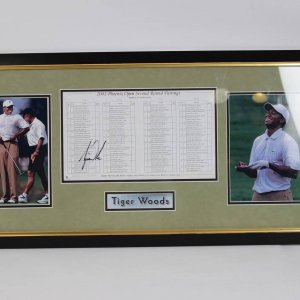 Tiger Woods Signed 2001 Phoenix Open Second Round Pairings Photo Display COA Global Sticker