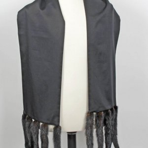 Liberace Owned and Stage-Worn Black Stole with Mink Tails-With Original Provenance Letter-Directly Obtained Back Stage